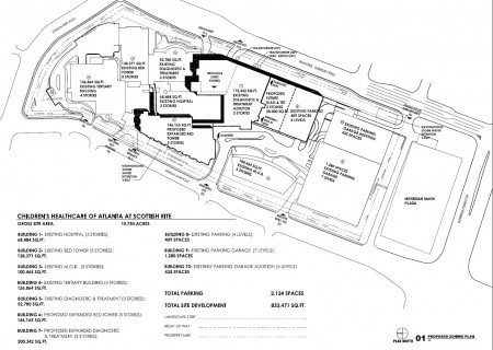 A map of current and planned zoning at Children's Healthcare of Atlanta's Scottish Rite hospital on Pill Hill.