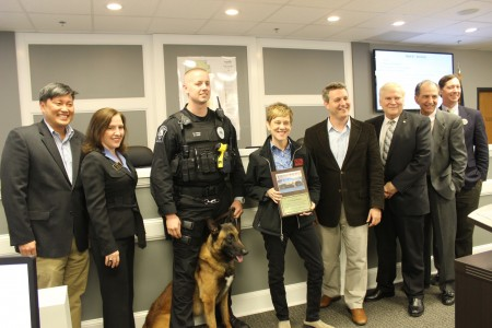 City Dog Market CEO Renee Palmer was honored by the Brookhaven City Council and Police Department for her support of the K-9 unit. (Photo Dyana Bagby)