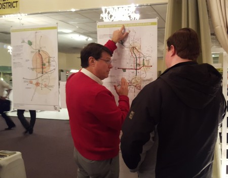 """Sandy Springs Mayor Rusty Paul, left, discusses the city's plans during a """"Next Ten"""" workshop."""
