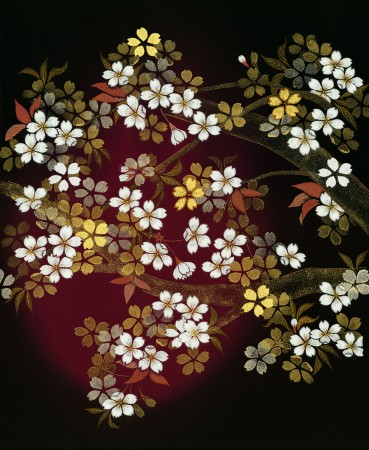 An image of embroidered cherry blossoms included in the OUMA exhibit.