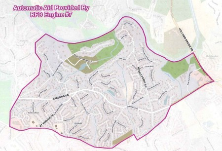 A city map of the part of Sandy Springs' eastern panhandle where Roswell's fire station will automatically respond.