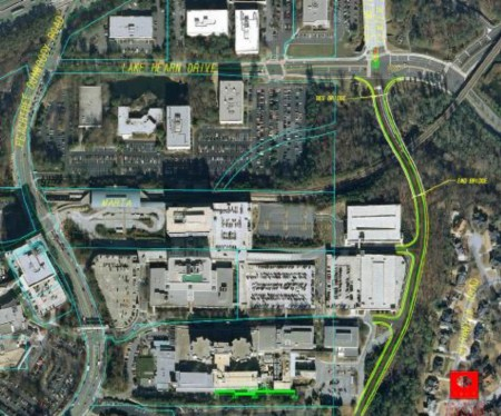 "A PCIDs map showing the proposed ""flyover bridge"" extension running along the eastern side to the right."