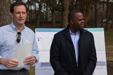 Kirk Billings, president of the Atlanta Memorial Park Conservancy, left, and Atlanta Mayor Kasim Reed field questions before touring Atlanta Memorial Park on March 8.