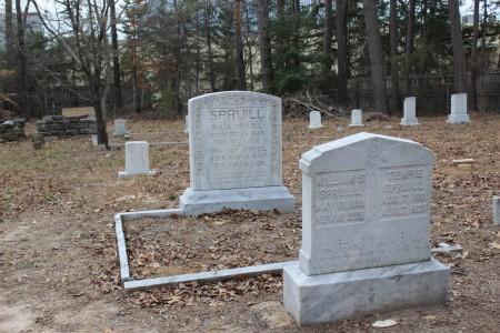 Many Spruills are buried at the cemetery.