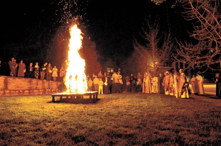 Easter services at the Cathedral of St. Philip start around an early morning bonfire. Photo provided by the Cathedral of St. Philip.