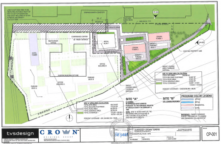Plans for Dunwoody Crown Towers show the Stephen Martin Cemetery at the top center of the drawings.