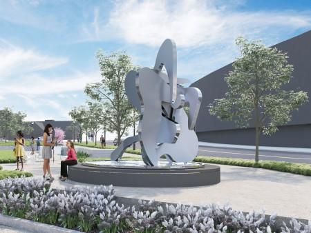 Atlanta architect and artist John Portman designed a statue for Loudermilk Park in Buckhead