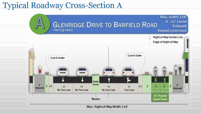 A cross-section showing possible bicycle and pedestrian improvements on Hammond Drive between Glenridge Drive and Barfield Road, from the Gresham, Smith and Partners draft plan.