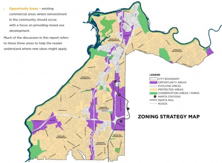 "A map in Code Studio's presentation on new Sandy Springs zoning concepts shows ""Protected Areas"" in beige, ""Evolving Areas"" in gray and ""Opportunity Areas"" in purple."