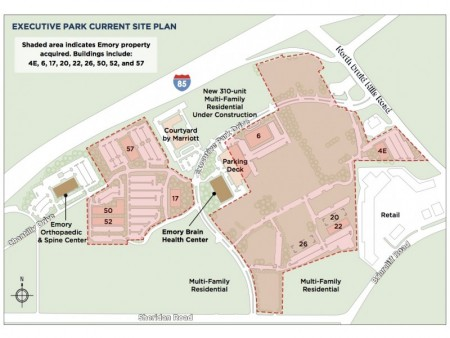 The land purchased by Emory University where the new Emory/Atlanta Hawks training facility is to be built.