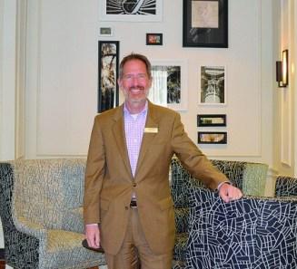 David Rossman, Wyndham Atlanta Galleria, poses in the lobby of the Powers Ferry Landing hotel. (Photo John Ruch)