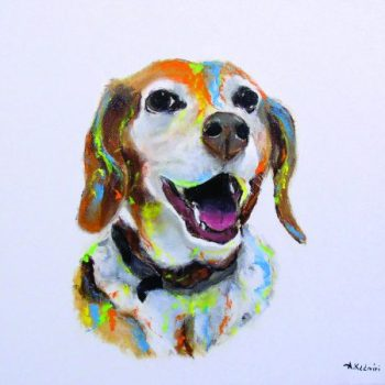 Zoey the beagle on canvas in a My Pooch Face painting.
