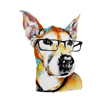 Spartacus shows off stylish glasses in a My Pooch Face portrait painting.