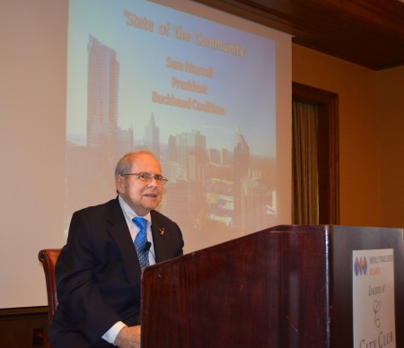 """Buckhead Coalition president Sam Massell gives his """"State of the Community"""" address to the Buckhead Business Association April 7 at the City Club of Buckhead. (Photo John Ruch)"""