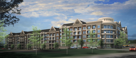 An illustration of the residential part of Trammell Crow Residential's upcoming mixed-use project on Peachtree-Dunwoody Road.