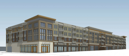 "An illustration of the proposed ""Dresden Village"" development on Brookhaven's Dresden Drive."