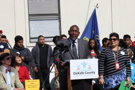 DeKalb School District Superintendent Stephen Green thanked voters for approving the E-SPLOST vote during a press conference at Cross Keys High School. (Photo Dyana Bagby)