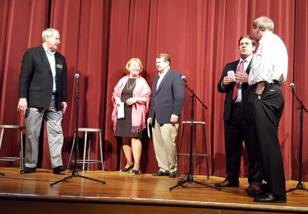 Sandy Springs City Council District 3 candidates (from left) Larry Young, Suzi Voyles, Joe Houseman, Brian Eufinger and Chris Burnett talk after the May 16 forum at Riverwood International Charter School. (Photo John Ruch)