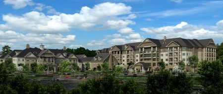 A new illustration of the Somerby of Sandy Springs senior housing complex under construction at 25 Glenlake Parkway.