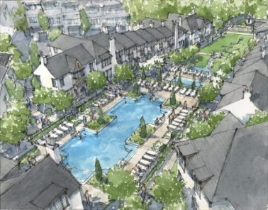 A new rendering of Ashton Woods' Aria redevelopment at the former Glenridge Hall site.