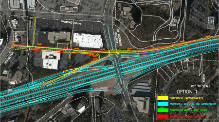 The Westside Connector, outlined in yellow, would connect Perimeter Center and I-285 via the former Gold Kist site. Part of the connector would run beneath Ashford-Dunwoody Road. (Special)