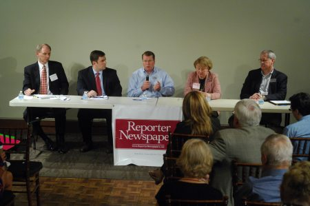 Sandy Springs City Council District 3 candidates (from left) Chris Burnett, Brian Eufinger, Joe Houseman, Suzi Voyles and Larry Young at the May 4 forum at Heritage Hall on Blue Stone Road. (Photo Phil Mosier)