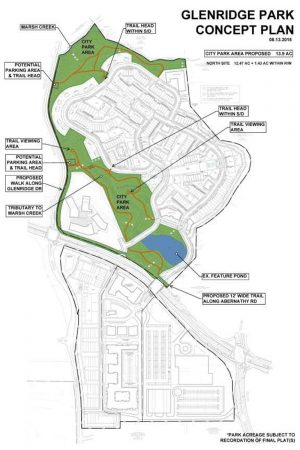 A draft site plan of Ashton Woods' housing and a future public park at former Glenridge Hall site.