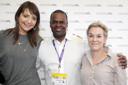 Left to right, Kate Atwood, Mayor Kasim Reed, Metro Atlanta Chamber CO Hala Moddelmog