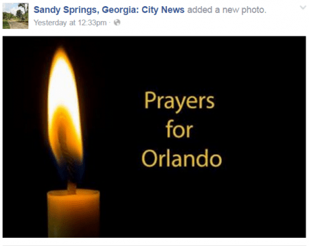 A post on the city of Sandy Springs' Facebook page.
