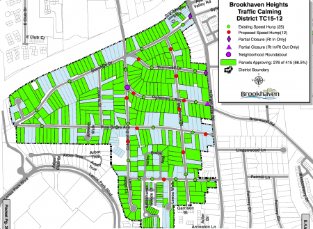Traffic calming measures proposed for Brookhaven Heights include partial road closures, roundabouts and speed tables. Click to enlarge.