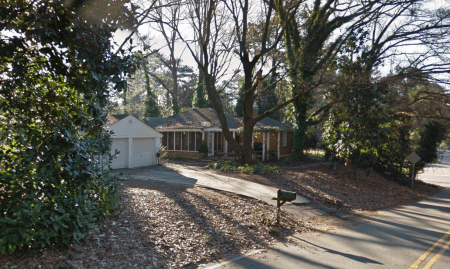 A Google Earth image of 418 Hammond Drive as seen from Hildebrand Drive.