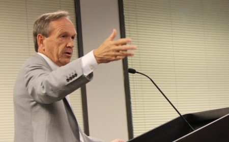 State Sen. Fran Millar addresses the Dunwoody City Council at its July 18 meeting. (Photo Dyana Bagby)