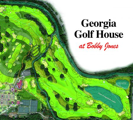 A rendering of a plan for a 9-hole Bobby Jones Golf Course, showing the new golf house at lower left.