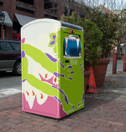 """A Bigbelly trash can painted as a """"Litter Critter"""" during a 2011 unveiling in Philadelphia. (Photo Philadelphia Streets Department)"""