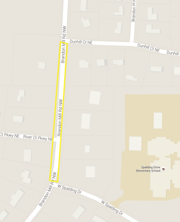 A Google Earth map of the section of Brandon Mill Road that will be closed for fuel pipeline repairs.