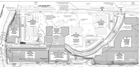 The latest site plan for the Peachtree Dunwoody Pavilion redevelopment, from a city filing.