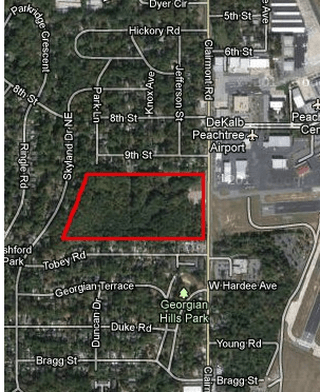 Brookhaven is interested in purchasing a 30-acre plot of land at PDK Airport, which is west of Clairmont Road and bordered by Ninth Street, Skyland Drive and Tobey Road.