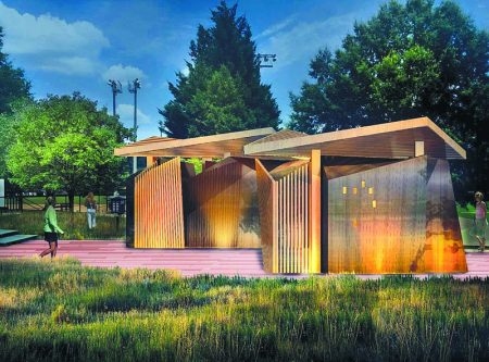Another rendering of the exterior of the proposed Brookhaven parks restrooms design. (GreenbergFarrow)