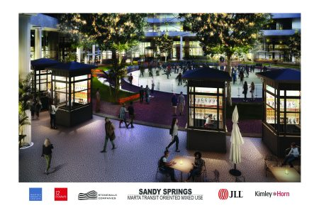 An illustration of the upgraded courtyard, including a skating rink, in the 1117 Perimeter Center West redevelopment.