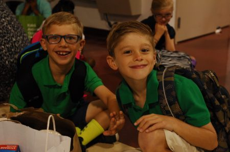 Mason Weiss, left, and Spencer Phillips wait for class to begin on BIA's first day. (Photo Phil Mosier)