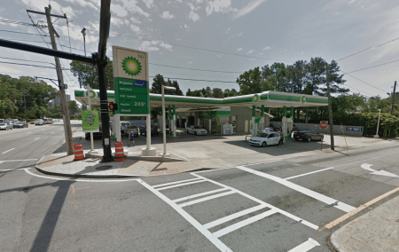 The BP gas and service station at the corner of Peachtree and Roxboro roads. (Google Earth image)