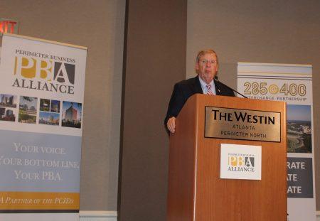 U.S. Sen. Johnny Isakson speaks to the Perimeter Business Alliance Aug. 12 at the Westin Atlanta Perimeter North hotel in Sandy Springs. (Photo John Ruch)