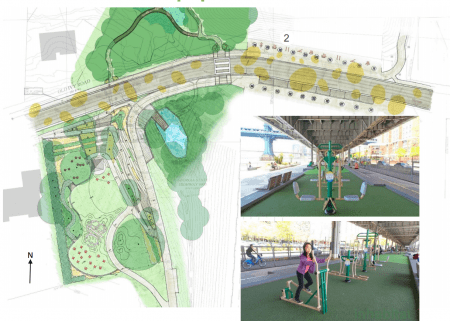 """The conceptual design plan for the future Old Ivy Park, with the main park at left, the """"stormwater park"""" at center,"""" and the Ga. 400 underpass area at right along with photos showing what its exercise equipment idea might be like. The yellow ovals on the roadway are suggested public art. (Perez Planning and Design/Livable Buckhead)"""