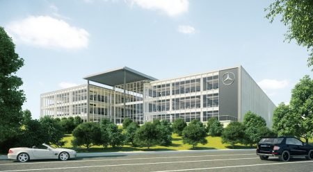 An illustration of the new MBUSA headqaurters building.