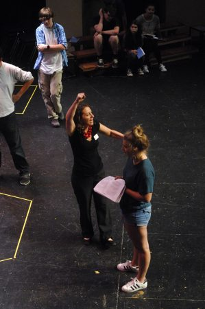 """Theater instructor Megan Cramer, center, directs Ellie Kaufman during """"The Complete Works of William Shakespeare Abridged"""" rehearsal at The Galloway School on Sept. 8. (Photo Phil Mosier)"""