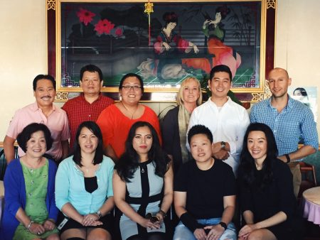 Some members of the new Business BuHi Coalition include: (front row, from left) Kay Park; Victoria Huynh, vice president of the Center for Pan Asian Community Services; General Manager Lilly Zhao and owner Jay Xue of J's Mini Hot Pot Deluxe; Marian Liou of We Love BuHi; (back row, from left) Ben Vo, president of City Farmers Market, Inc.; Ken Lim, owner of Penang Restaurant; Ching Hsia, Yen Jing; Gina Rivers, owner of Chong Qing Hot Pot; Andy Eun; and Arkadiy Yakubov. (Special)