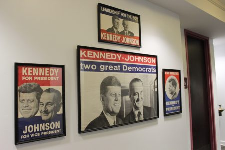 Campaign posters for John F. Kennedy and Lyndon Johnson in the James and Camilla Comerford Collection. (Photo Dyana Bagby)