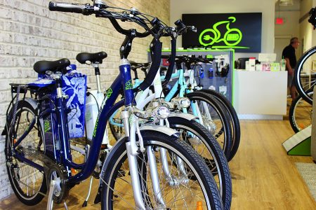 E-bikes for sale at Brookhaven's ElectroBike store. (Photo Dyana Bagby)