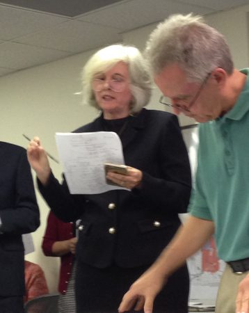 Linda Sherbert, left, and Dunwoody Forest Neighborhood Association President Paul Murphy spoke out forcefully against the city buying land at 1664 Remington Road. (Photo Dyana Bagby)