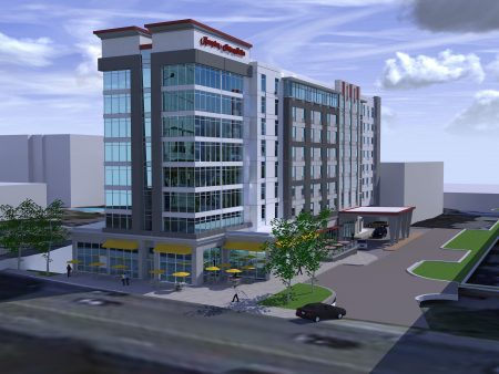 A rendering of the Hampton Inn & Suites by Hilton Buckhead Place hotel, slated to rise on Piedmont Road, just north of Peachtree Road. (McKibbon Hospitality)